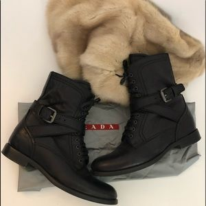 PRADA Combat MotorcycleLeather Buckle Zip Lace